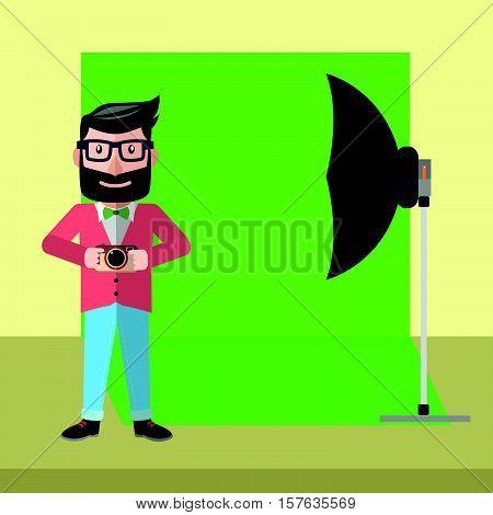 Photographer studio cartoon eps10 vector illustration design