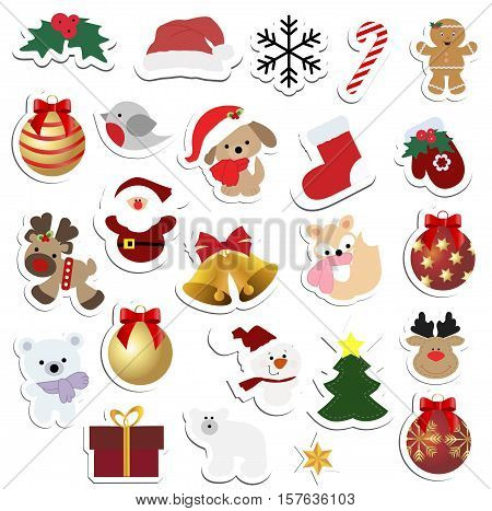 great set of children's winter colored stickers and badges. Collection of baby Christmas labels for scrapbook. Cute vector illustration