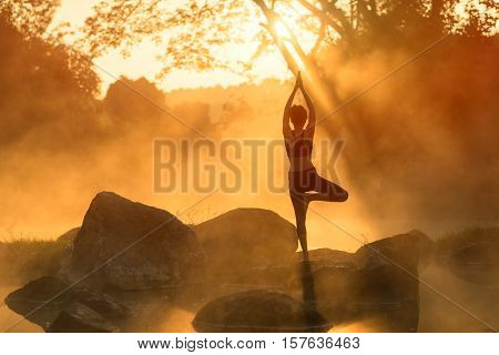Silhouette yoga Asia young woman practicing yoga in the forrest and sport yoga