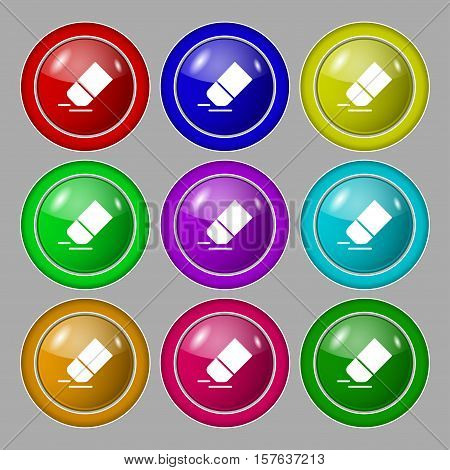 Eraser, Rubber Icon Sign. Symbol On Nine Round Colourful Buttons. Vector