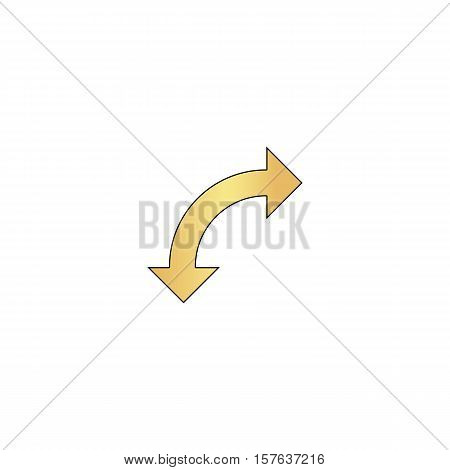 U-Turn Gold vector icon with black contour line. Flat computer symbol