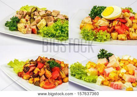 Four Salads For Christmas Table