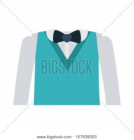 formal suit with bowtie and long sleeves vector illustration