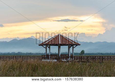 Beautiful sunset with pavilion in Sam Roi Yot National Park Prachuap Khiri Khan Thailand