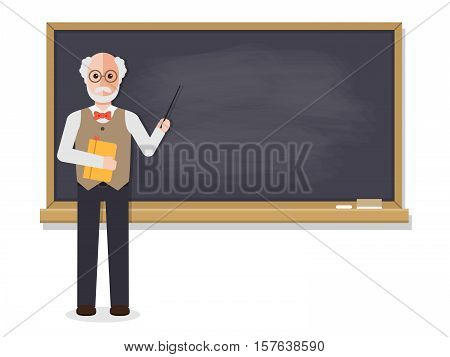 Senior teacher professor standing in front of blackboard teaching student in classroom at school college or university. Flat design people characters.