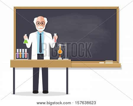 Senior science teacher scientist professor standing in front of blackboard teaching student in classroom at school college or university. Flat design people characters.