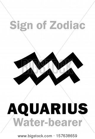 Astrology Alphabet: Sign of Zodiac AQUARIUS (The Water-bearer). Hieroglyphics character sign (single symbol).