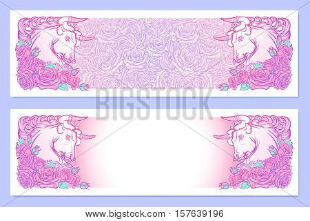 Horizontal banners with Zodiac Taurus and a decorative frame of roses. Astrology web element. Tattoo design. Sketch in pastel pallette isolated on elegant pattern background. EPS10 vector illustration