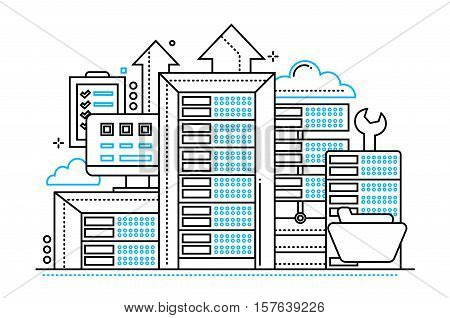 Servers - vector modern line design illustration with communications equipment and tools