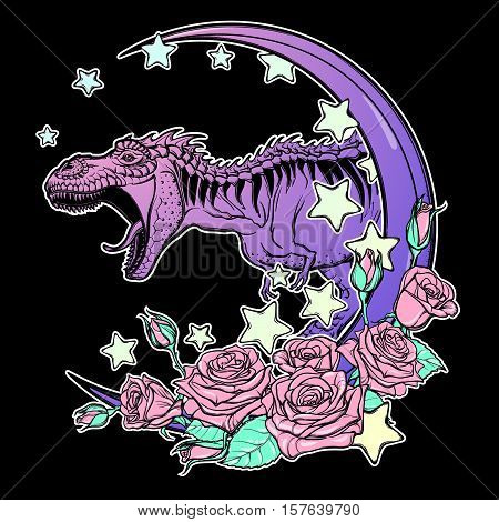 Detailed sketch style drawing of the roaring tyrannosaurus rex on Kawaii Moon and roses frame. Tattoo design. Concept art. Pastel goth pallette. EPS10 vector illustration isolated on black background.