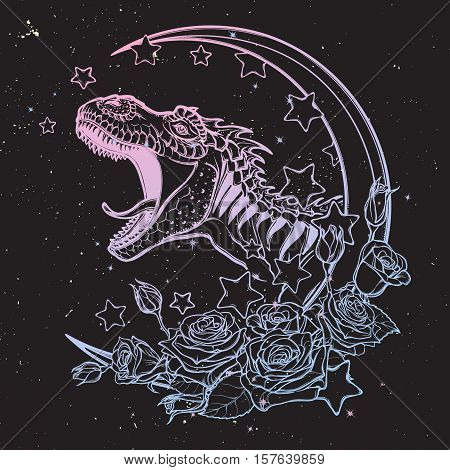 Detailed sketch style drawing of the roaring tyrannosaurus rex on a Moon and roses frame. Tattoo design. Concept art drawing. Sketch Isolated on balack night sky background. EPS10 vector illustration.