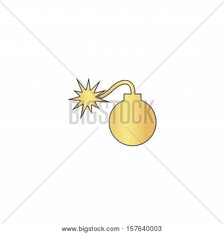 Bomb Gold vector icon with black contour line. Flat computer symbol