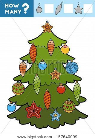 Counting Game For Children. Christmas Tree And Toys