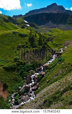 Trickling Mountain Stream flows down the green mountain slop high in the Alpine Tundra of Chicago Basin at Mount Sneffels Base near Telluride Colorado USA