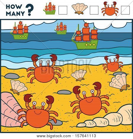 Counting Game For Preschool Children. Сrabs And Beach