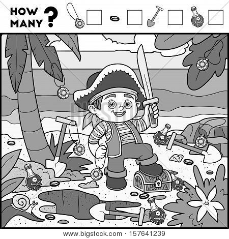 Counting Game For Preschool Children. Pirate Boy And Background