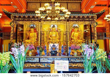 Golden Buddha Statues In The Temple, Po Lin Monastery In Hong Kong