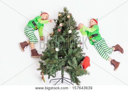 Flying little elves decorating Christmas tree. Boys dressed in elf costume. Santa's helpers. White background with copy space. Family decorating a Christmas tree. Merry Christmas 2016. North pole