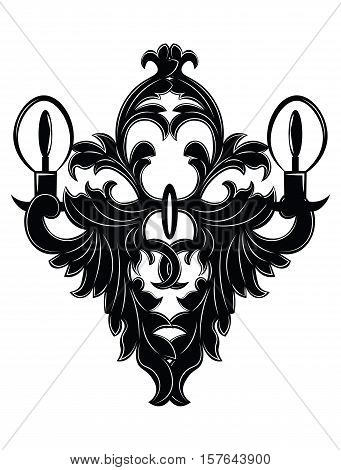 Baroque Elegant Lamp Vintage Ornaments Vector