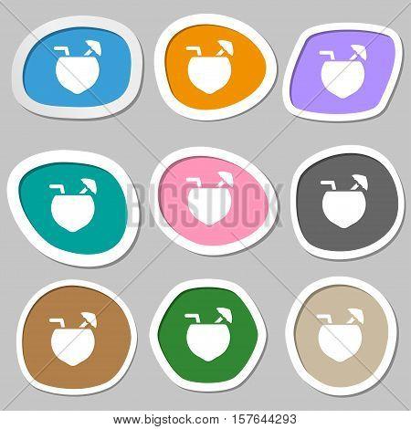 Coconut Cocktail Icon Symbols. Multicolored Paper Stickers. Vector