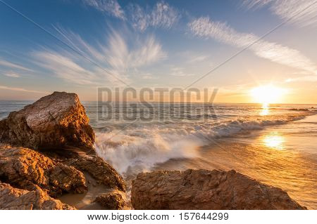 beautiful sunset at southern california beach, Laguna Beach