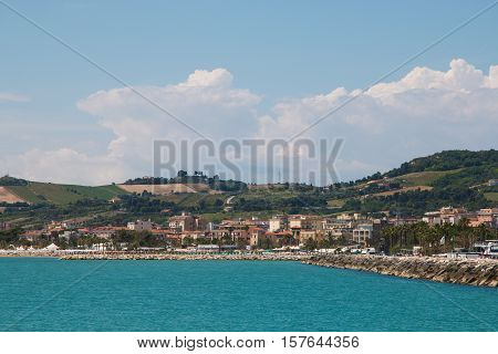 Panoramic view of San Benedetto del Tronto on the sea