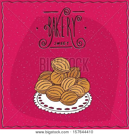 Cookies In The Form Of Walnuts On A Lacy Napkin