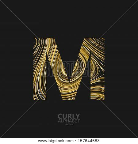Curly textured Letter M. Typographic vector element for design. Part of marble or acrylic texture imitation textured alphabet. Letter M with diffusion lines swirly pattern. Vector illustration