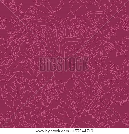 Colorful Purple East Asian Seamless Repeating Floral Pattern