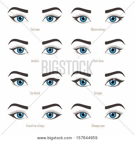 Types of eye makeup. Eyeliner shape tutorial. Illustration of eyebrow line make up isolated on white background. Set of illustrations with captions. Beauty article magazine book.