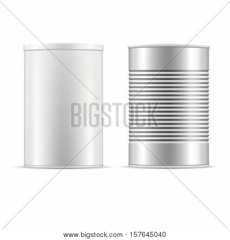 Set of tin cans. White tin can with white cap and metallic can. Vector realistic illustration.