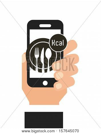 Diet food application on smartphone . Calorie counter app. Vector illustration