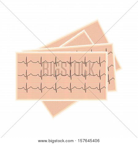 Electrocardiogram on lined paper. Cardiology and concern for human health of the heart. Vector illustration.