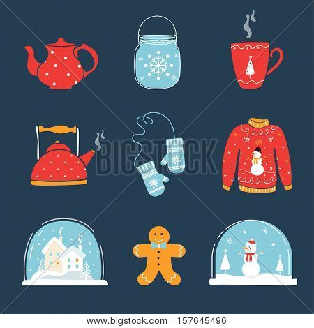 Set of Christmas and Winter Holidays Design Elements. Snow Globe, Ugly Sweater, Mug, Mittens and Teapot. Vector Design