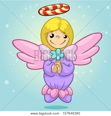 Vector illustration cute Christmas flying angel character with candy nimbus