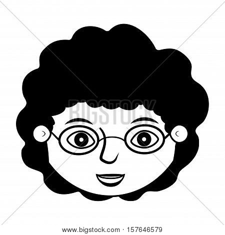 front face teen silhouette with curly black hair vector illustration