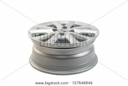 car wheels chrome on a white background