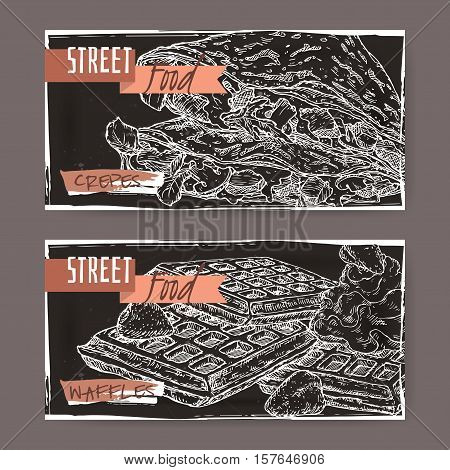 Set of two landscape banners crepes and with Liege waffles onn black background. French and Belgian cuisine. Street food series. Great for market, restaurant, cafe, food label design.