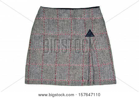 Twill skirt isolated on white background. Grey wool short skirt cut out on white.
