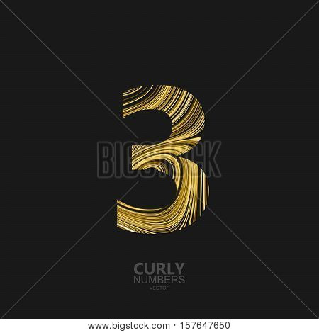 Curly textured number 3. Typographic vector element for design. Part of marble or acrylic texture imitation textured alphabet. Digit three with diffusion lines swirly pattern. Vector illustration