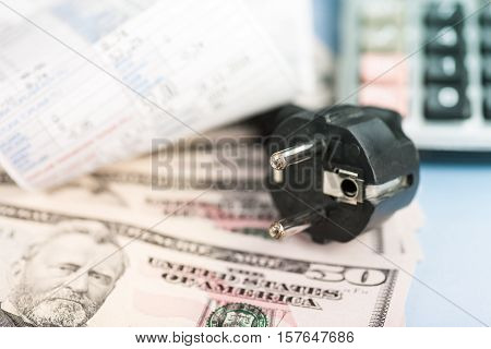Concept of expensive energy bill and dollar