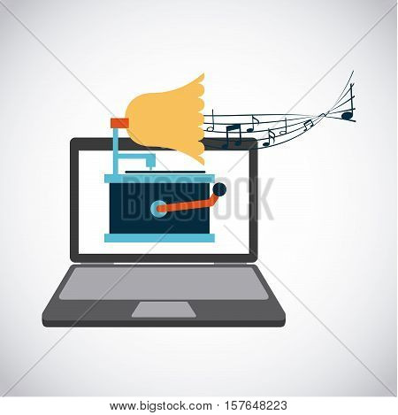 laptop computer with gramophone icon on screen over white background. colorful design. vector illustration