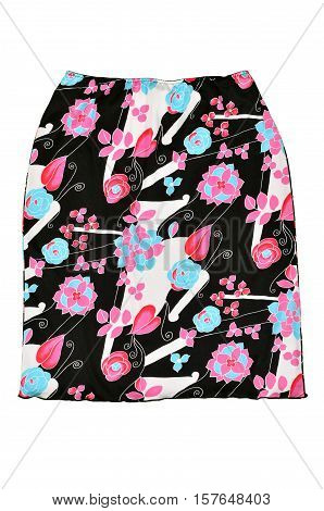 Floral skirt isolated on white background. Black short skirt with pink and blue flowers cut out on white.