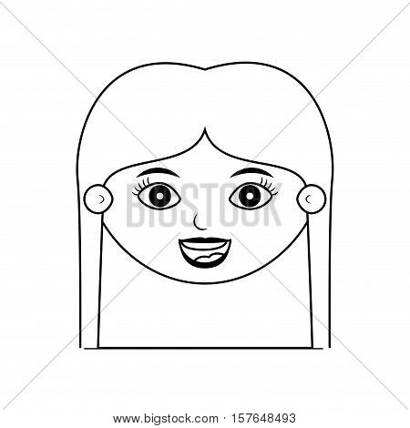 front face teen silhouette with long hair vector illustration