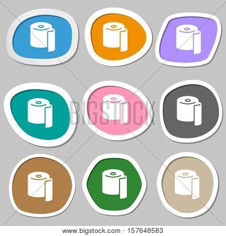 Toilet Paper Icon Symbols. Multicolored Paper Stickers. Vector
