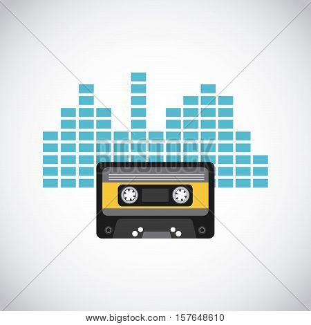 cassete tape with yellow label over blue soundwaves and white background. vector illustration