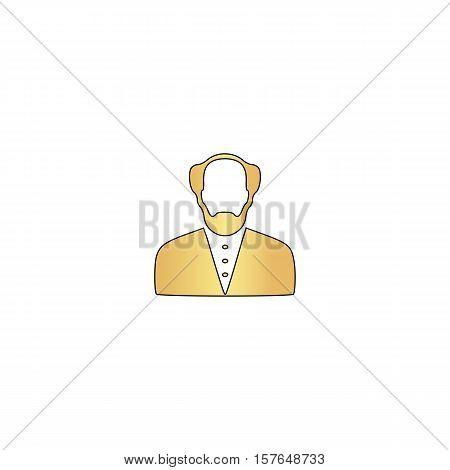 Bald Man Gold vector icon with black contour line. Flat computer symbol
