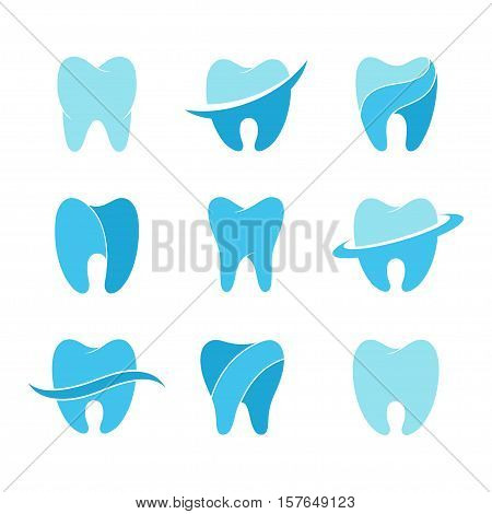 Teeth vector icon set isolated on a background. Silhouettes of teeth for dental clinic logo or business card dentist. Signs for the concept of healthy teeth and smile.