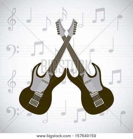 electric guitars crossed over white background with musical notes. vector illustration