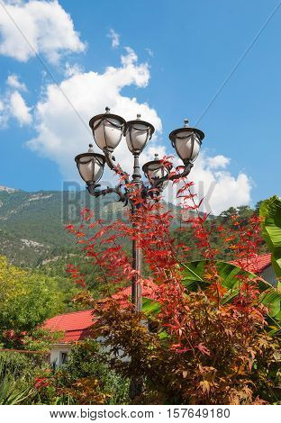 Beautiful lantern in a tropical park on a background of mountains